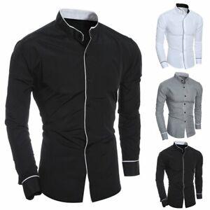 Luxury-Men-039-s-Stylish-Casual-Dress-Shirt-Slim-Fit-T-Shirts-Formal-Long-Sleeve-HOT