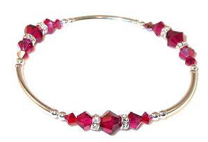 RUBY-RED-Crystal-Bracelet-Sterling-Silver-Handcrafted-Swarovski-Elements