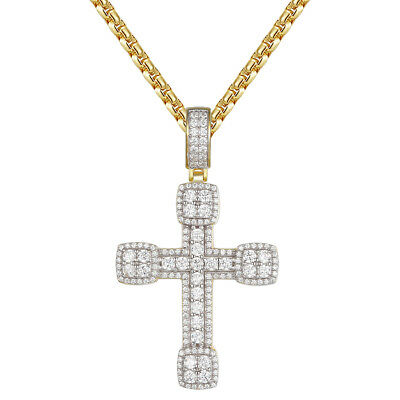 Solitaire Cross Pendant 14k Gold Finish Simulated Diamond 925 Silver Necklace