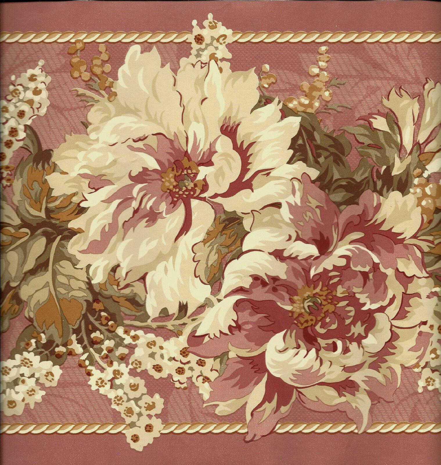 Victorian Dusty Rose Floral Wallpaper Border For Sale Online