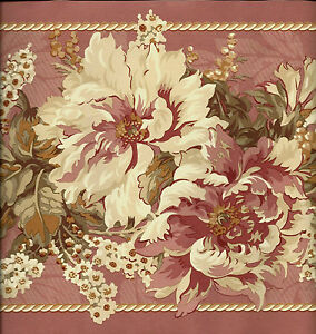 Details About Victorian Dusty Rose Floral Wallpaper Border