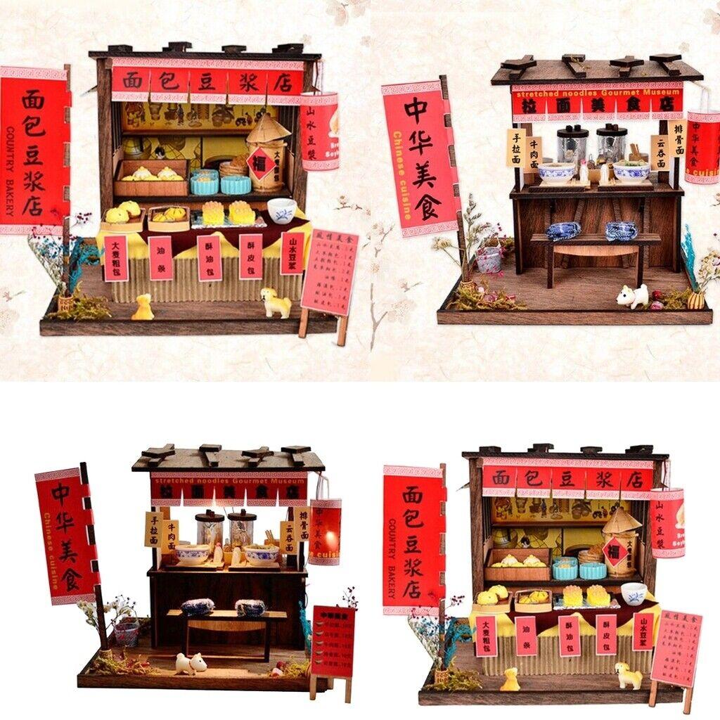 Hágalo usted mismo kit de Muebles Casa De Muñecas Mini, Pan soja Shop & A Mano Tienda De fideos Tirado