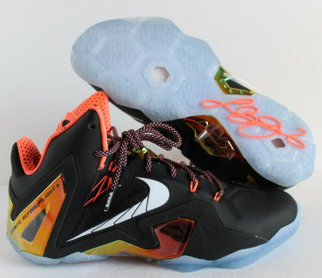 check out fbde5 4e0b8 NIKE LEBRON XI 11 ELITE SERIES PREMIUM BLACK-WHITE-MANGO SZ 11  642846
