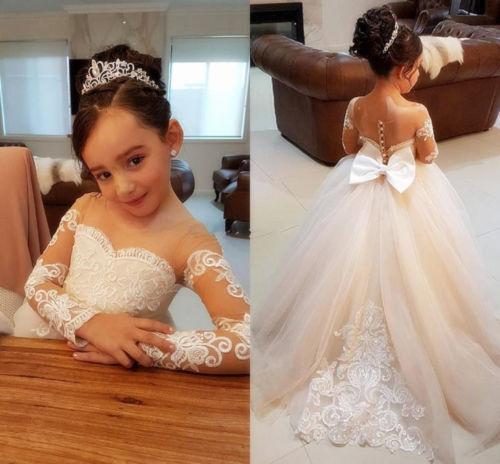 Wedding  Flower Girl Dress Birthday Party Princess Dress Glitz Ball Gown Dress