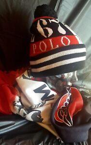 fd215c9813023 Ralph Lauren Winter Stadium Polo 92 Scarf Beanie Hat Rare ski USA og ...