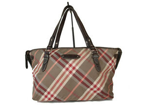 2a3471973707 Auth BURBERRY LONDON BLUE LABEL Nova Check Nylon Canvas Browns Red ...