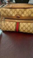 Gucci Vintage Brown Monogram Canvas Web Stripe Crossbody Bag