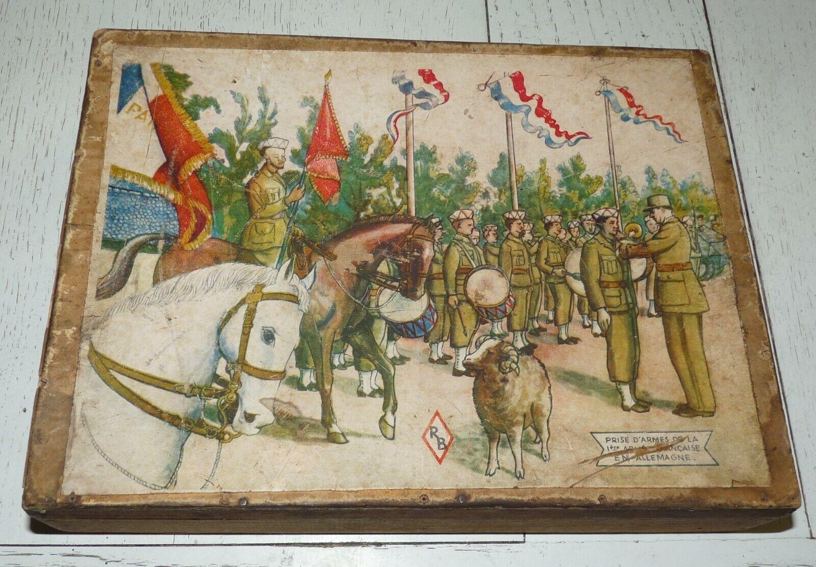 RARE VINTAGE 1945-48 BOITE CUBES PUZZLE 1ere ARMEE FRANCE DE LATTRE RHIN DANUBE