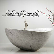 Bath Wall Quotes Breathe Let Go Relax Wall Decal Bathroom Wall Stickers