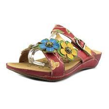 L'Artiste by Spring Step Hibiscus Women US 6.5 Red Slides Sandal