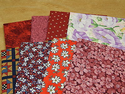 Assorted Red Series Cotton Quilting Fabric 8 Fat Quarters Lot 7