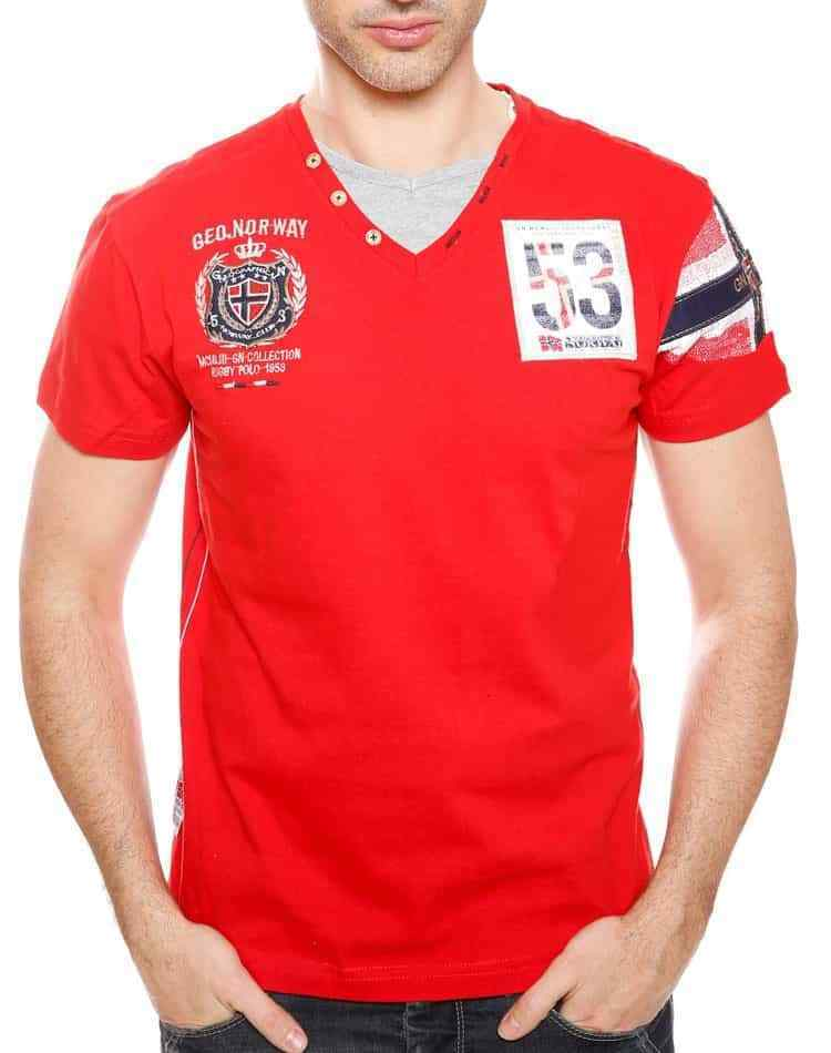 Red Embroidered Fashionable T-shirt - GEOGRAPHICAL NORWAY  sizes L, XL, XXL,