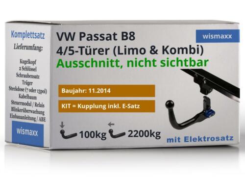 7po ESatz ABE abnehmbar passend für VW Passat B8 ab 14 HOOK ANHÄNGERKUPPLUNG v