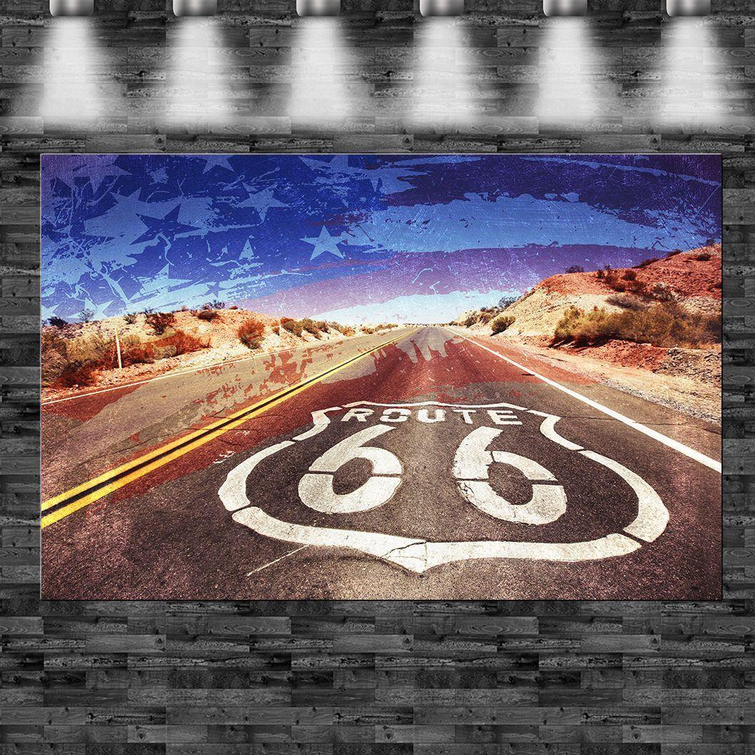 XXL Route 66 USA Flagge auf Leinwand Keilrahmen Loft Design