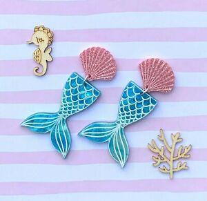 Mermaid Acrylic Earrings Surgical Steel Studs