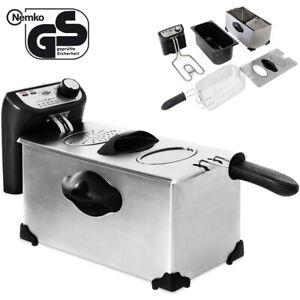 DEUBA-Fritteuse-Friteuse-Fritoese-Frittoese-Kaltzonen-3L-Edelstahl-Inox-2200W