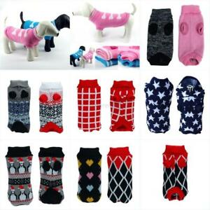 Pet-Dog-Sweater-Warm-Small-Medium-Large-Dogs-Puppy-Knit-Clothes-Coat-Apparel-US