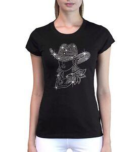 4eeeb0823bc New Junior s Rhinestone Cowgirl Hat Women s T Shirt Rodeo Horse ...