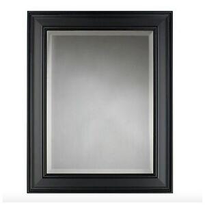 Bathroom bath mirror hanging wall vanity mount black framed decorative decor new ebay for Hanging bathroom vanity mirror