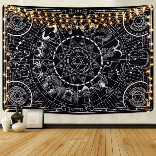 Psychedelic Black Mandala Tapestry Wall Hanging Blanket Home Decor Wall Tapestry