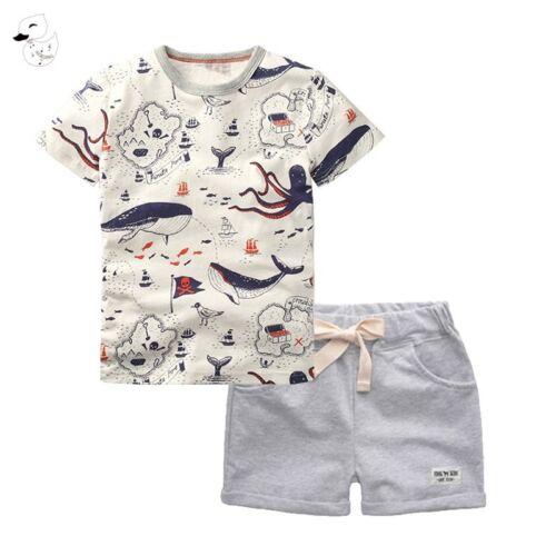 BINIDUCKLING 2PCS Children/'s Sets Boys O-Neck T-Shirt and Pants Shorts Summer