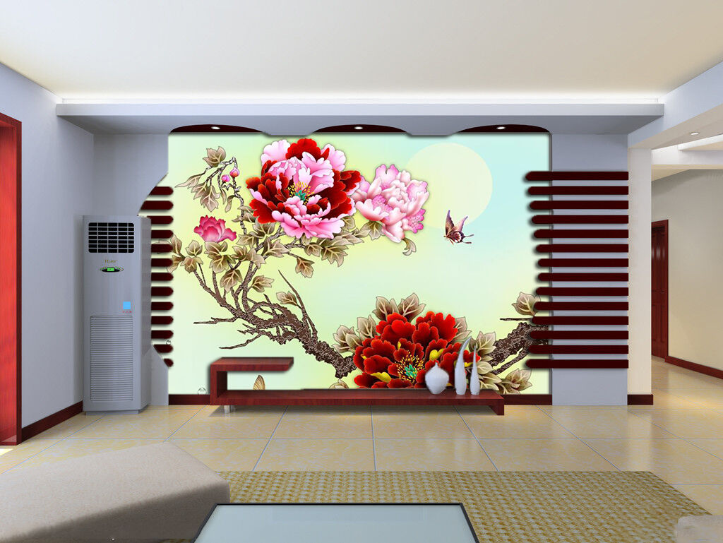 3D Large bright flowers Wall Paper wall Print Decal Wall Deco Indoor wall Mura