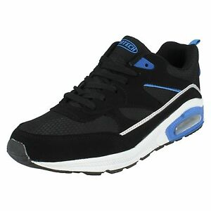 Air-Tech-Legacy-Men-039-s-Black-Silver-Royal-Lace-Up-Textile-Synthetic-Trainers