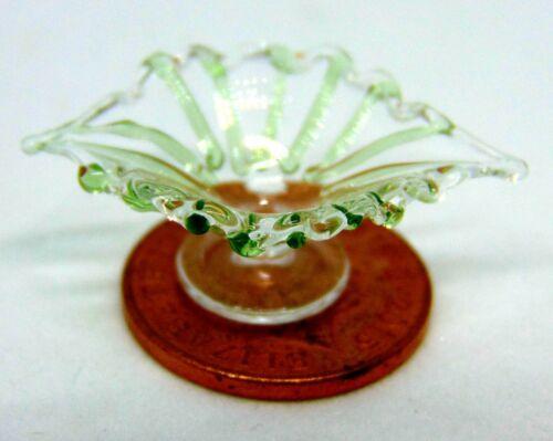 1:12 Scale Fine Green Glass Bowl Tumdee Dolls House Miniature Accessory G441