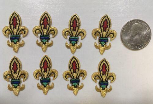 """fleur de lis patch saints logo lot of 8 pcs iron on applique 1 1//8/"""" tall"""