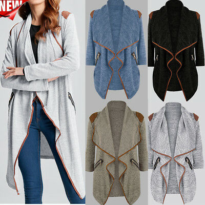 Womens Winter Plus Size Knitted Casual Long Sleeve Tops Cardigan Jacket Outwear