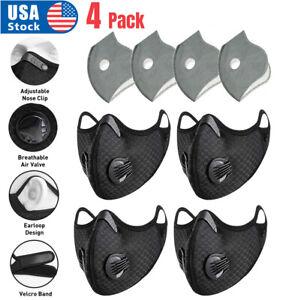 4PCS Activated Carbon Air Purifying Face Mask Cycling Reusable Filter Haze Valve