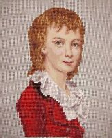 Ep Vintage Boy Man In Red Suit Preworked Needlepoint Canvas