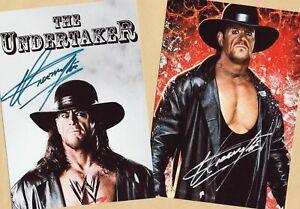 The UNDERTAKER (2)  2 TOP Autogramm - Bilder (Print Copies) + AK Box WM SIGNIERT