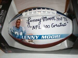 BALTIMORE COLTS LENNY MOORE STATS FOOTBALL AUTOGRAPHED -WITH COA