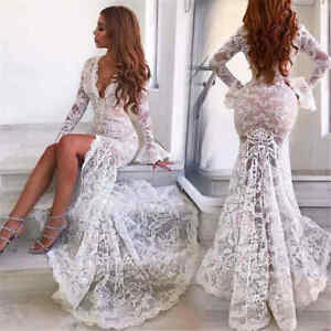 Women-Deep-V-neck-Long-Sleeve-White-Lace-Mermaid-Wedding-Front-Slit-Sexy-Dresses