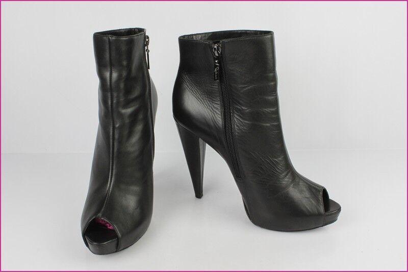 Stiefletten Geöffnet Geöffnet Toe Report Signature Schwarzes Leder 8,5 40,5