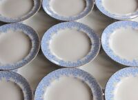 SET 12 ANTIQUE ROYAL WORCESTER ENGLAND CHINA W 2805 PATTERN IN BLUE DINNER PLATE