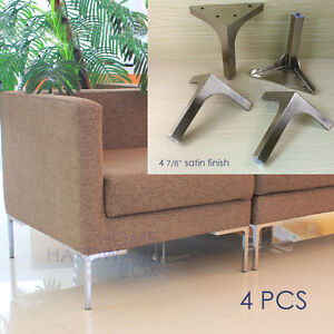 furniture metal table sofa leg cabinet feet satin stainless steel square 4x ebay. Black Bedroom Furniture Sets. Home Design Ideas