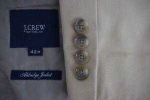 J-Crew-Alridge-Jacket-Khaki-Brown-Crespi-100-Cotton-2-Pc-Suit-Jacket-Pants-42R