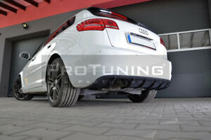 Para-Audi-A3-Parachoques-Trasero-Difusor-RS-aleron-divisor-Addon-diffuzor-Escape-S