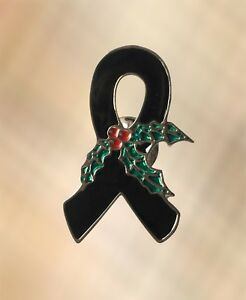 JEWELRY 2 MOURNING BLACK AWARENESS RIBBON PEWTER PINS ALL NEW.
