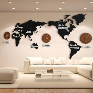 DIY 3D Wooden Wall Clock World Map Large Wall Clock Modern European ...