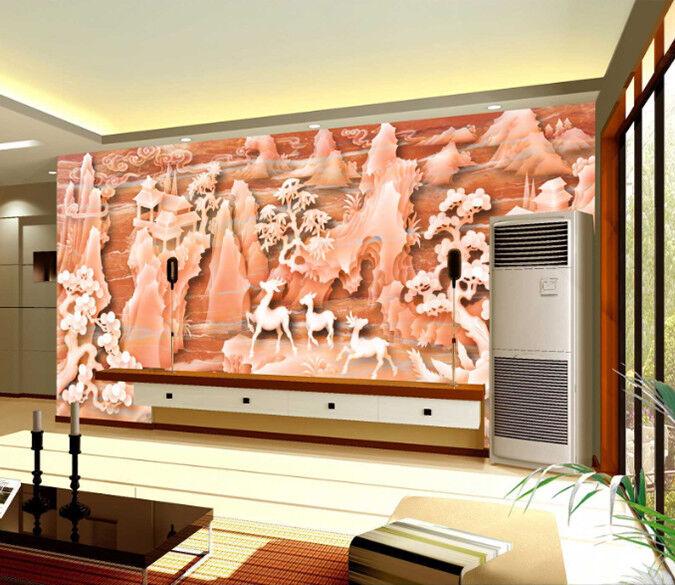 3D Rote Berg Hirsche 85 Tapete Wandgemälde Tapete Tapeten Bild Familie DE Summer