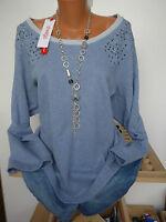 Sheego Shirt Pulli Sweatshirt Gr. 44/46 Blau (462) mit Ziernieten NEU