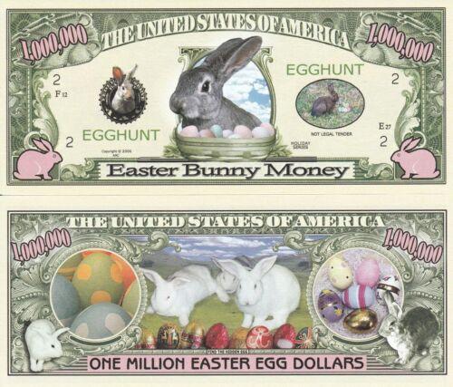 FREE SLEEVE Easter Bunny Egg Hunt Million Dollar Bill Funny Money Novelty Note