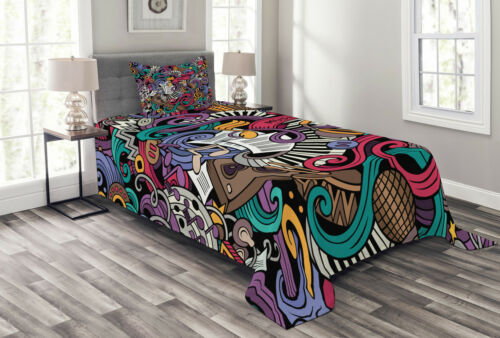 Music Theme Instruments Print Doodle Quilted Bedspread /& Pillow Shams Set