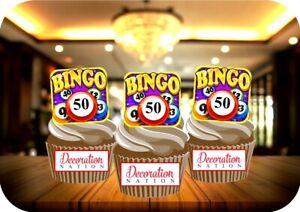 Image Is Loading Bingo Card 50th Birthday 12 Edible STANDUP Cake