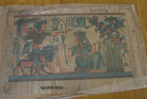 Egyptian Dark PAPYRUS King Tut Hunting Hieroglyphics . 30cm x 20cm #219