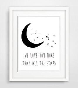 WE-LOVE-YOU-MORE-THAN-ALL-El-estrellas-dicho-Poster-Bebe-Habitacion-impresion