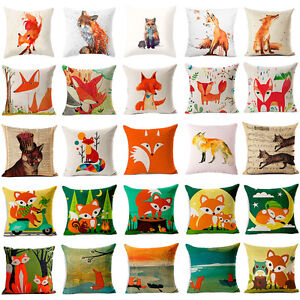 Cute-Animal-Imprime-Coton-Lin-Taie-d-039-oreiller-Housse-de-coussin-Fashion-Home-Decor